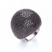 J-JAZ Micro Pave' Big Cocktail Ring with 503 Black Cz